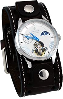 Nemesis BBSTH511S Men's Open Heart Tourbillon Moon Phase Wide Leather Band Automatic Watch