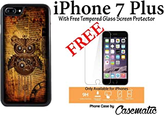 iPhone 7 Plus Case Steampunk Owl Plastic Black Protective Phone Case For Apple iPhone 7 Plus With Free .33 mm Premium Tempered Glass Screen Protector by Casematic