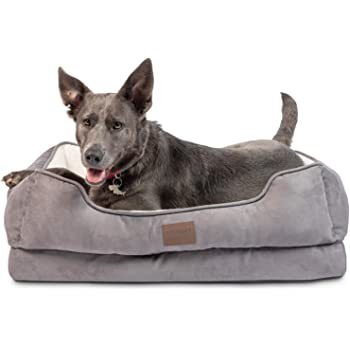 Pet Craft Supply Premium Orthopedic Lounger Dog Bed Sofa Style Couch Removable Washable Cover Joint Arthritis Relief Bolster Headrest Pet Bed for Small Dogs Medium Large Breed Dogs