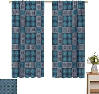 Mozenou Geometric, Thermal Insulating Blackout Curtain, Old Fashioned Lace Style Floral Motifs Victorian Baroque Effects, Blackout Draperies for Bedroom Petrol Blue Pale Blue White