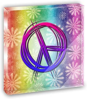 Hippie Peace Signs and Flowers Acrylic Office Mini Desk Plaque Ornament Paperweight