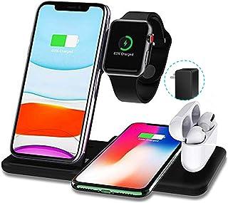 Bezprzewodowa Podstawka Ładująca 4 W 1 Do Zegarków Airpods Samsung, Woffoly European Standard Stacja Ładująca Apple Qi Pow...