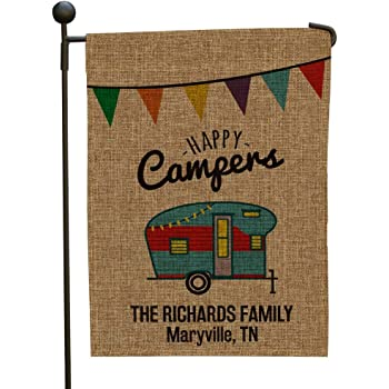 """GiftsForYouNow Personalized Happy Camper Burlap Garden Flag with Two-Sided Design, 18"""" H x 12.5"""" W - 100% Polyester All-Weather Personalized Camping Flags, Includes 2"""" Sleeve for Hanging Vertically"""