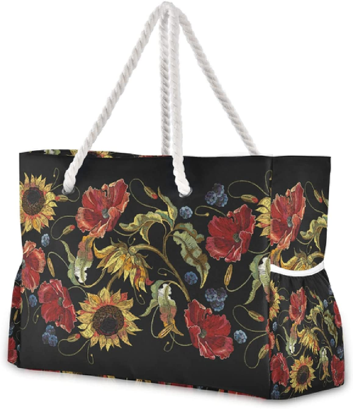 OTVEE Chic Red Poppy Sunflowers Bag Mesa Mall Large Travel Beach Tote Excellence