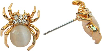 Navachi 18k Gold Plated White Created-Opal Crystal Spider Az2403s Stud Earrings