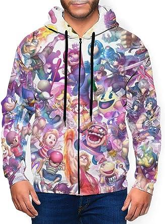 Super Smash Bros Pikachu Soni_c Zelda Mario Kirby - Sudadera con capucha para hombre con bolsillo con cremallera