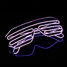 YinStore LED Light Up Glasses glowing glasses EL Wire Neon Glasses for Halloween Disco Bar Glowing Party Mask Decor (Purple)
