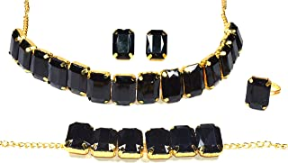 Frolics India Golden and Colored Stones Studded Combo of Choker Set with Earrings, Bracelet and Adjustable Ring for Women...