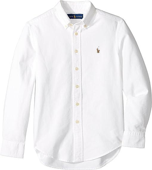 POLO RALPH LAUREN Boys Oxford Shirt Long Sleeved Top Size 14-16 Kids White