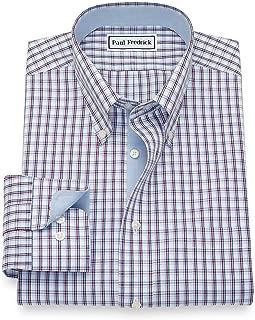 Men's Non-Iron Cotton Tattersall Button Cuff Dress Shirt