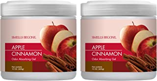 Smells Begone Air Freshener Odor Absorber Gel - Made with Natural Essential Oils - Absorbs and Eliminates Odor in Pet Areas, Bathrooms, Cars, Boats - 2 Pack (15 Ounce) (Apple Cinnamon Scent 2 Pack)