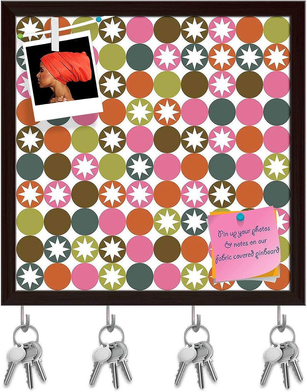 Artzfolio Stars & Circles Key Holder Hooks   Notice Pin Board   Dark Brown Frame 20 X 20Inch