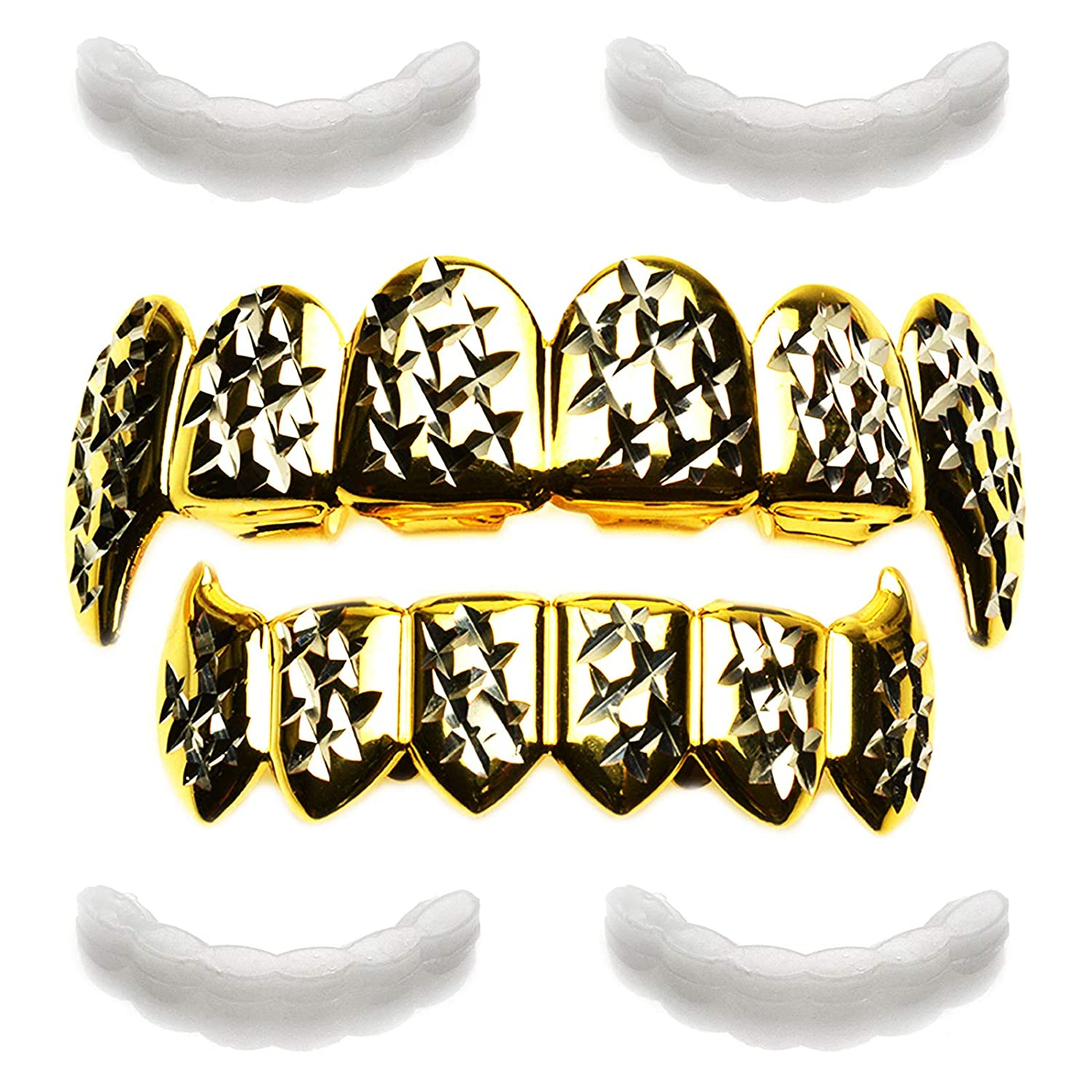 Vampire Fangs Gold Plated Diamond Cut Grillz with 4pc Fixing Bar LS 020-C2-G