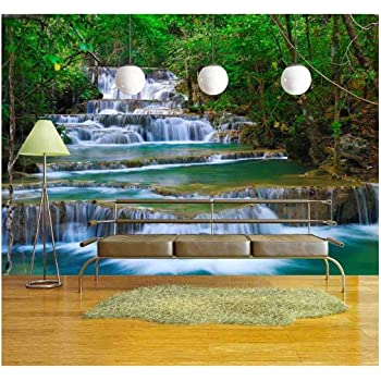 wall26 - Deep Forest Waterfall in Kanchanaburi, Thailand - Removable Wall Mural   Self-Adhesive Large Wallpaper - 66x96 inches