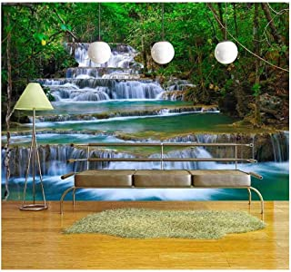 wall26 - Deep Forest Waterfall in Kanchanaburi, Thailand - Removable Wall Mural | Self-Adhesive Large Wallpaper - 100x144 inches