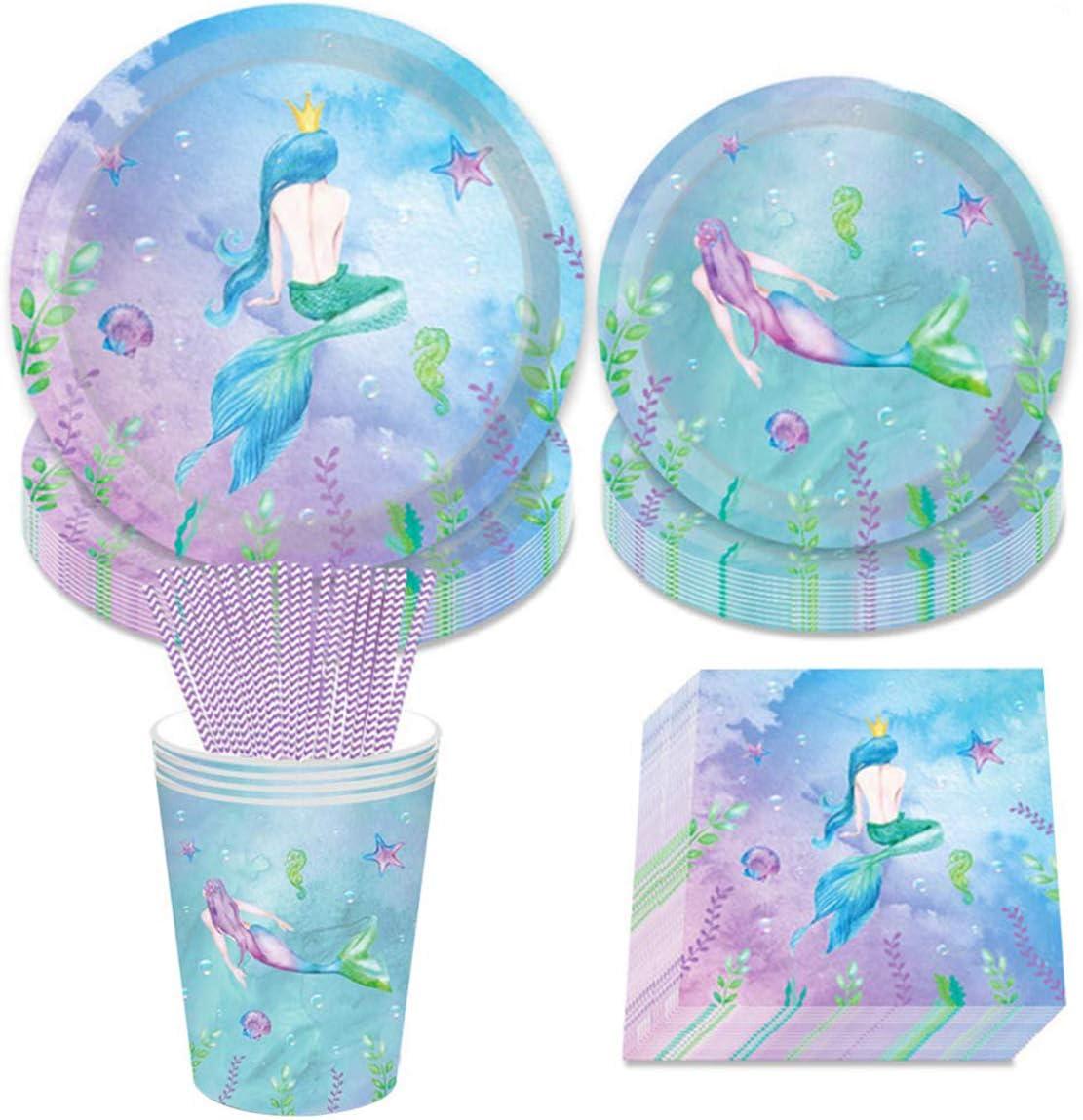 Amycute 8 Invitados Vajilla de Sirena Azul Morado, Decoracion de Fiesta Sirena de Vasos Platos, Servilletas Vajilla de Cumpleaños Infantil