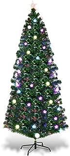 Goplus Artificial PVC Christmas Tree Pre-Lit Fiber Optic Tree (7.5 FT)