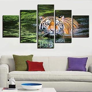 UYEDSR 5 lienzos decoración Cuadros en Lienzo Tigre Animal acuático Decoracion de Pared dormitorios Modernos decoración