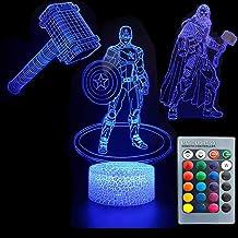 3D Illusion Avengers Super Hero Night Light Three Pattern Captain America/Thor/Thor's Hammer 7 Color Change Decor Lamp Des...