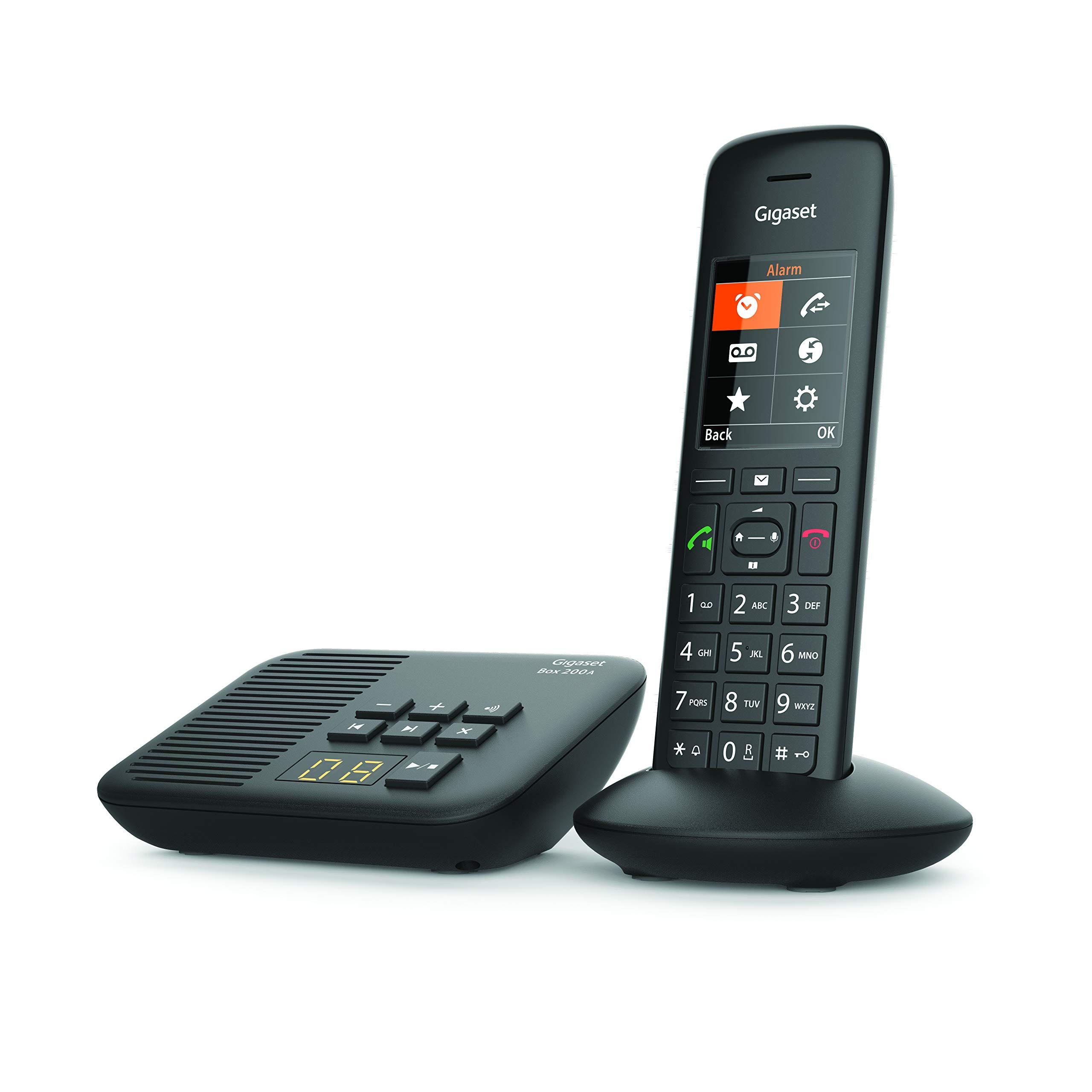 Gigaset C570A Solo - Teléfono (Teléfono DECT, Terminal inalámbrico, Altavoz, 200 entradas, Identificador de Llamadas, con Contestador, Negro): Amazon.es: Electrónica