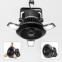Busypiggy Solar Camping Fan with LED Lantern, Portable Tent Fan with Hanging Hook, Rechargeable USB Desk Fan for Home, Off...