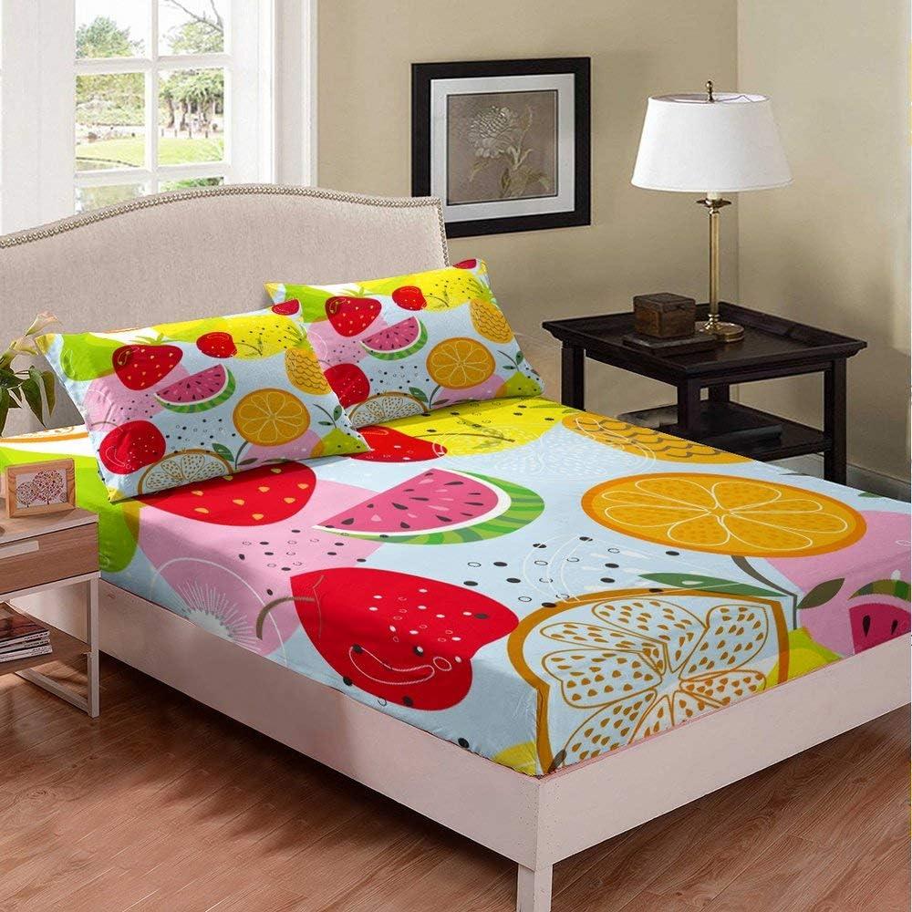 ブランド買うならブランドオフ Castle Fairy Fruit Print ☆新作入荷☆新品 Fitted Sheet Pineapple Watermelon Straw