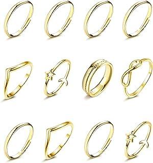 HAIAISO مجموعة بسيطة تكديس خواتم للنساء 14K الذهب مطلي الحد الأدنى من الألمانية المفصلات ميدي خواتم الإصبع مجموعة 12-13 قطعة