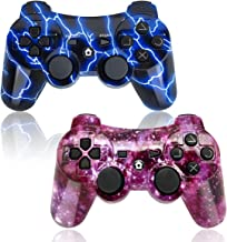PS3 Controller Wireless 2 Pack Double Shock Gamepad for Playstation 3 Remotes, Sixaxis Wireless PS3 Controller with Charging Cable (Purple and Blue)