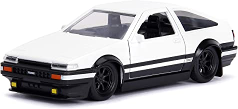 Jada Toyota Trueno Ae86 White Black Bottom Initial D First Stage (1998) TV Series Hollywood Rides Series 1/32 Die-cast Model Car 99801