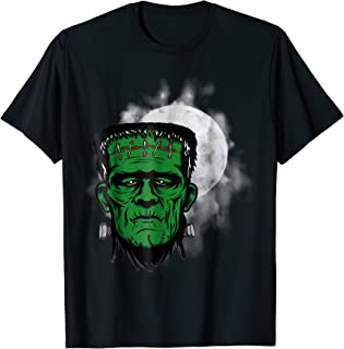The green face of Frankenstein creepy, spooky shirt.