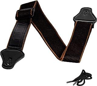 ITME Sangle de Guitare Réglable Comprend 3 Emplacements de Sélection Sangle de Guitare 100% Coton Extrémité en Cuir Vérita...