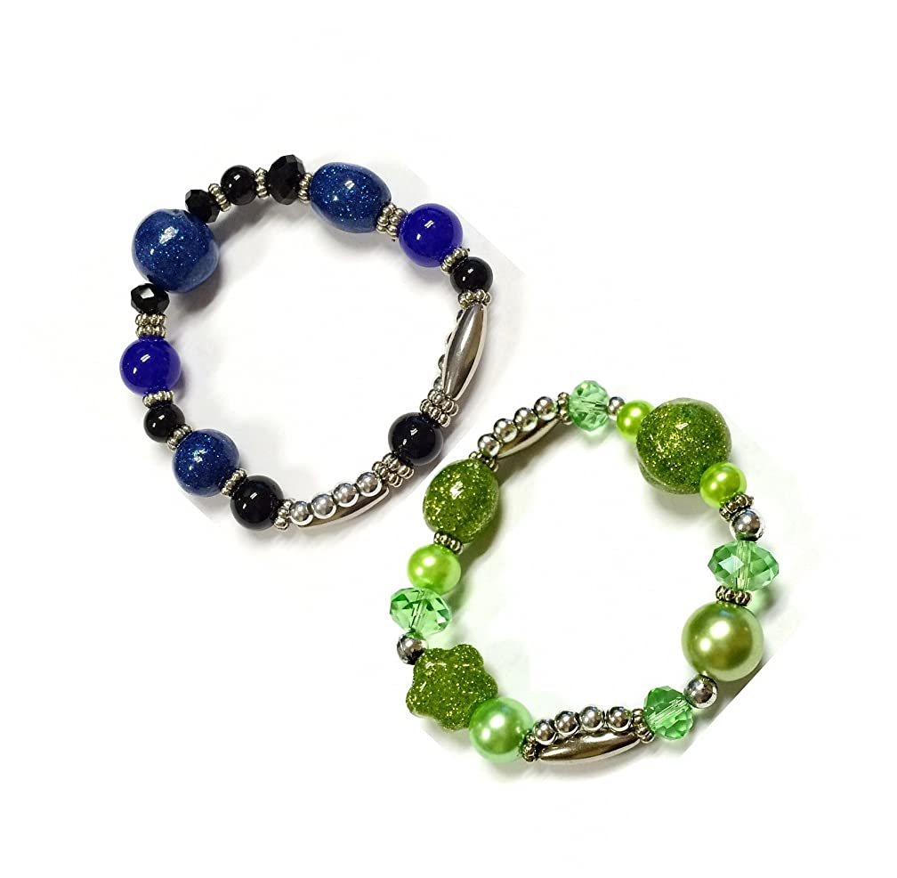 Linpeng Fiona BR-2514-H/I Glitter Galaxy Mixed Beads Stretch Bracelet 2 Piece Set