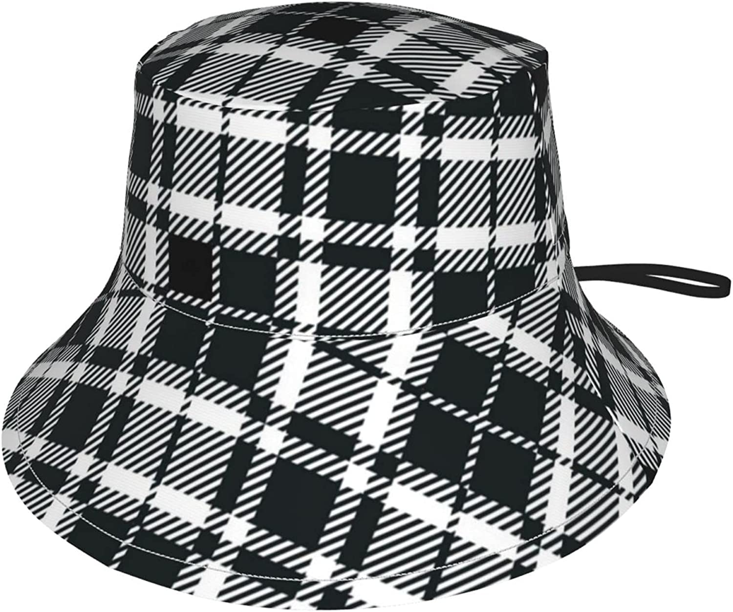 Kids Bucket Hat Black and White Tartan Wide Brim Sun Protection Fishing Hat for Boys and Girls Outdoor Activities