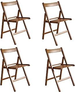 Italiadoc - Juego de 4 sillas Plegables, Madera de Nogal