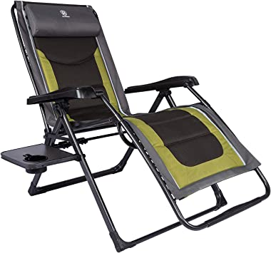 EVER ADVANCED Oversized Zero Gravity Chair, Cushioned XL Folding Lounge Recliner with Adjustable Headrest for Lawn,Patio,Camp