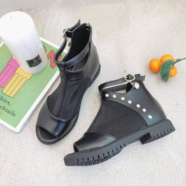 Women's Ladies Casual Lightweight Sandal shoes Zipper LowHeeled Summer Beach PeepToes SquareHeel Rubber Sole Cool Boots Pu Sandal Flip Flops for Women, NX