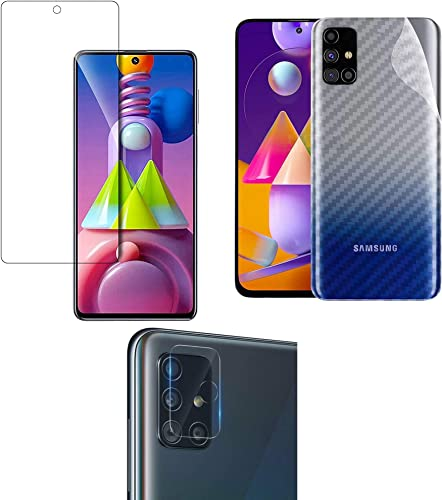 LINLO 3 in 1 for Samsung Galaxy M51 Full Coverage Except Edges Clear Tempered Glass with Clear 3D Carbon Fiber Back Skin Rear Screen Guard Protector with Camera Protector Tempered Glass