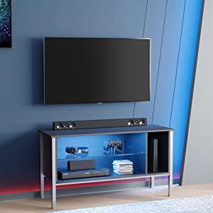 """BESTIER 44 inch Gaming TV Stand for 50"""" tv,20 Color LED Entertainment Center Modern TV Console Television Media Stands,TV Cabinet with Storage Drawers and Shelves for Living Bedroom Furniture (Gam)"""