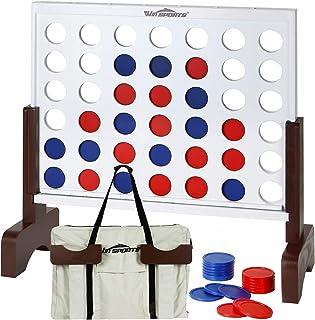 برنده SPORTS Giant Wooden 4 in A Row - مجموعه چهار تخته بازی Connect با رنگ سفید - بازی خانوادگی ایده آل برای کودکان و نوجوانان