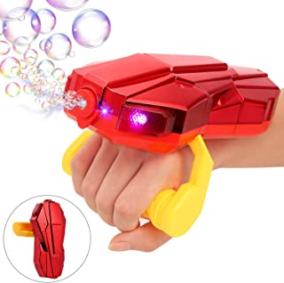 Auney Handheld Bubble Machine with Light, Automatic Arm Bubble Blower Bubble Maker 2000+ Per Minute Bubble Machine for Kids, Red Bubble Toy for 1 2 3 4 5 Year Old Girls and Boy