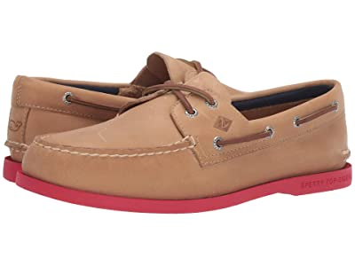 Sperry Authentic Originals 2-Eye vineyard vines Plush (Tan/Red) Men