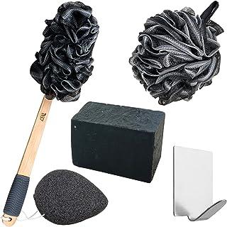 Loofah Charcoal Shower Kit - Exfoliator Sponge for Body – 17-inch Handled Bamboo Loofah, Shower Mesh Scrubber, Konjac Spon...