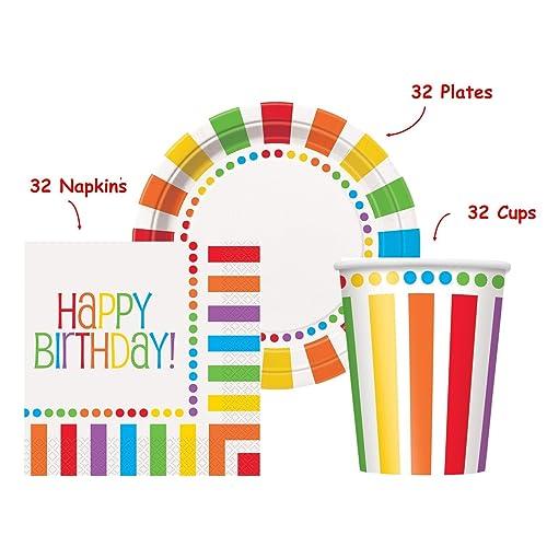 Amazon Com Kedudes Rainbow Birthday Party Set Supplies For 32