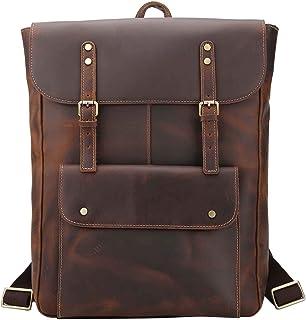 Neuleben Echt Leder Rucksack Vintage Rucksäcke Damen Herren Männer für Schule Reise Arbeit Daypack mit Atmungsaktivem Rückenteil Braun