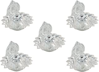 GoldGiftIdeas Silver Plated Lakshmi Diya Set, Pooja Items for Home, Return Gift for Wedding and Housewarming with Designer Potli Bags (Pack of 5)