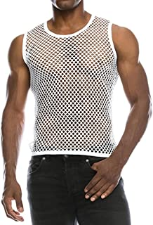 Mens Casual Muscle Mesh Hollow Out Fashion T-Shirt O-Neck Sleeveless Top Blouse