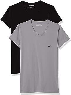 2-Pack Stretch Cotton V-Neck Men's T-Shirts, Black/Grey