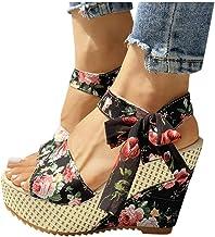 Dainzuy Womens Wedge Sandals Ladies Espadrille Platform Open Toe Lace Up Ankle Wrap Summer Dot Sandals Shoes