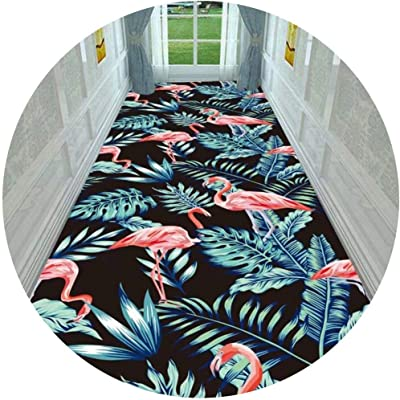 Hallway Runner Rug Long Runner Rugs Corridor Carpet 3D Geometric Flamingo Pattern and Landscape Patterns Suitable for Home Living Room Stairs 7MM Thickness (Color : A, Size : 1X1M)