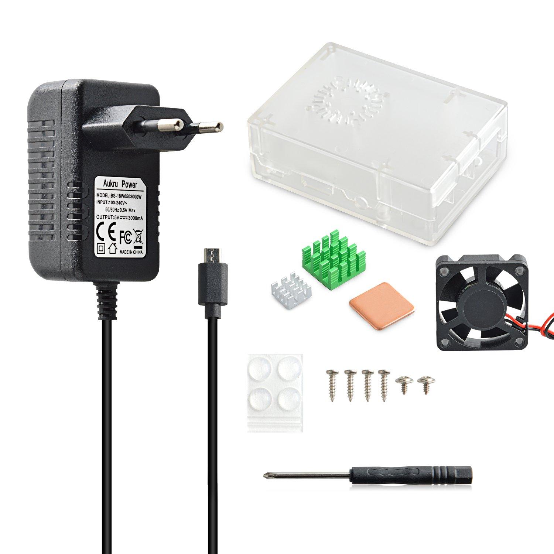 Aukru Transparente Caja Nuevo Modelo (Puede Instalar Ventilador)+ Micro USB 5V 3000mA Cargador + los disipadores de calores + los Tornillos y Destornillador para Raspberry Pi 3 Modelo B, B+: Amazon.es: Electrónica